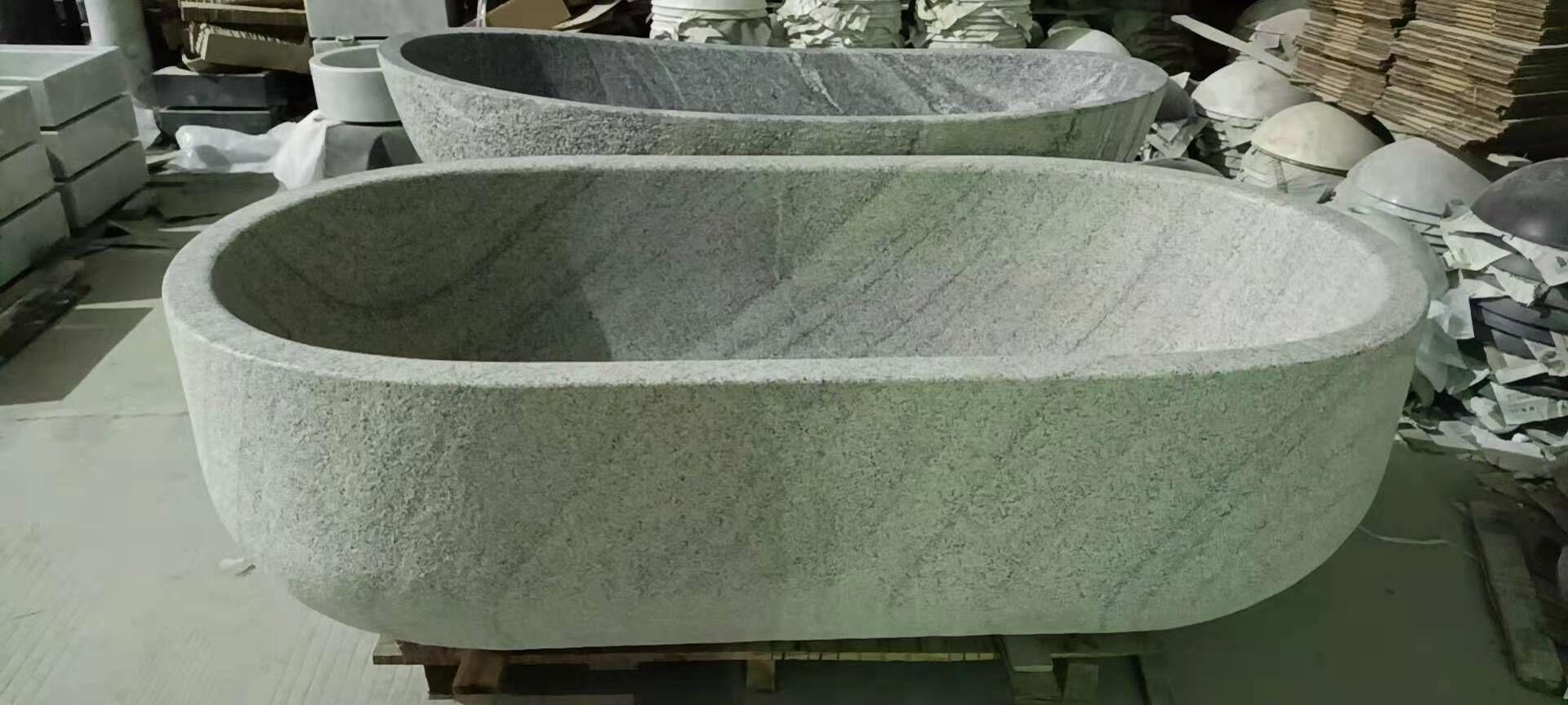 grey sandstone bathtub