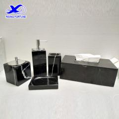 Black marble bath accessories set