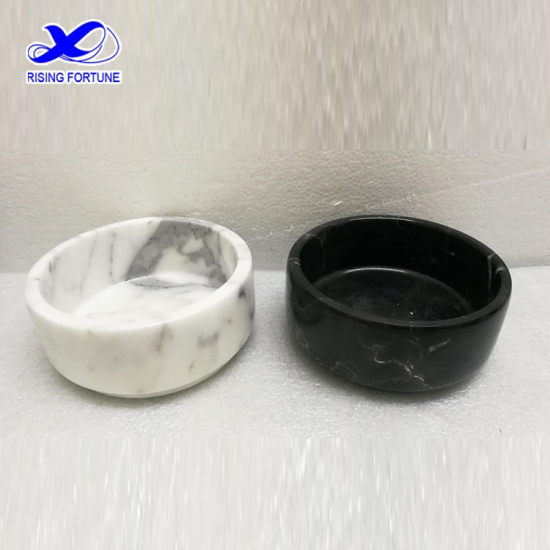 White marble stone dog pet food bowl