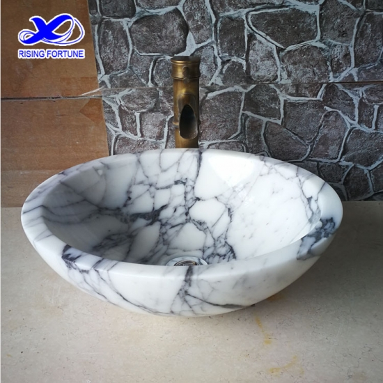 Italian arabescato white marble bathroom round vessel sink