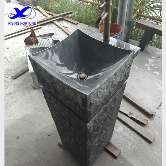 Freestanding granite bathroom basin and pedestal