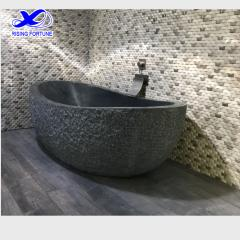 Oval granite natural stone bathtub
