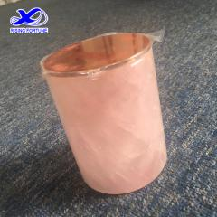 Pink quartz candle jar with rose gold lid