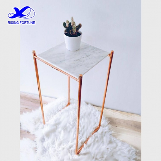 Small square white marble side table