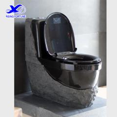 Black granite stone bathroom toilet