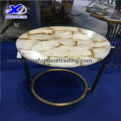 White quartz coffee table top