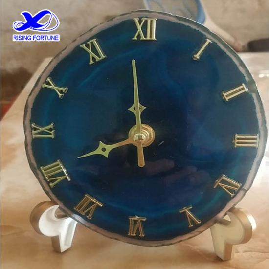 Decorative blue agate stone desk clock