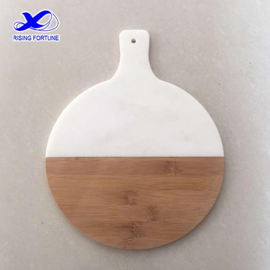 Marble and acacia wood round cutting board with handle