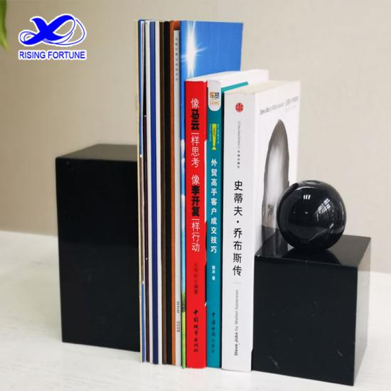 Custom black marble stone bookend