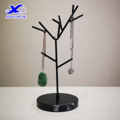 Black marble & metal jewelry tree stand holder