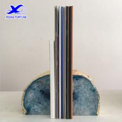 natural agate bookends blue