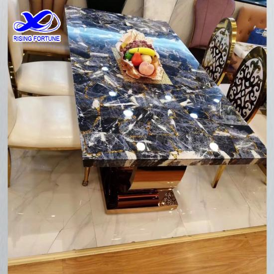 Semi-precious gemstone inlay dining table tops furniture