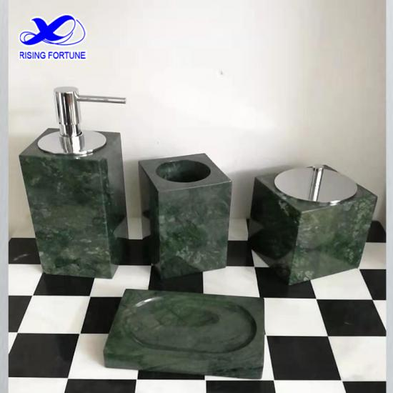 White marble bathroom accessories set