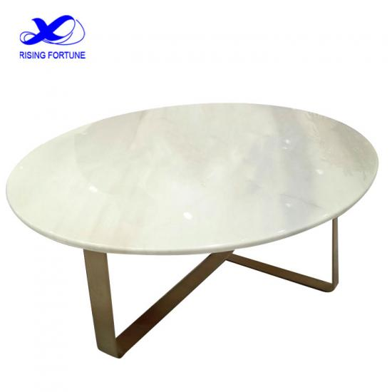 Round white marble and copper sofa table