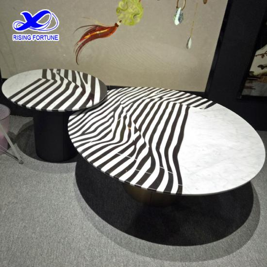 Round modern marble coffee table top