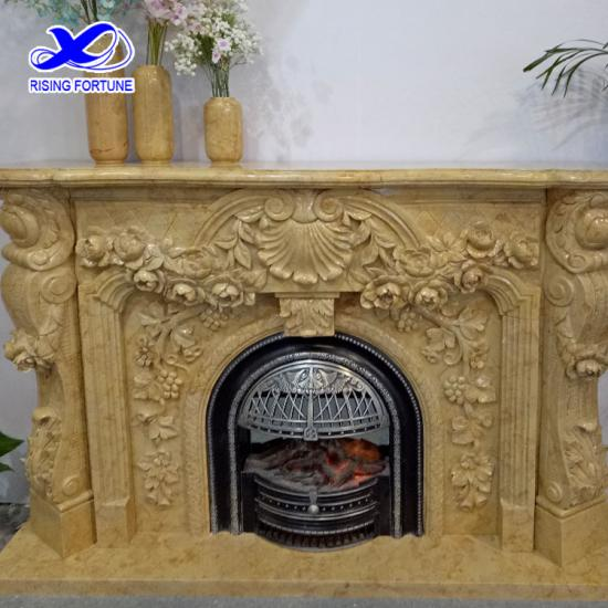 Decorative beige marble fireplace mantel
