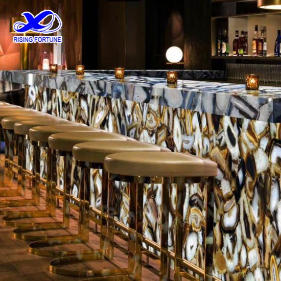 Semi precious agate stone bar counter top