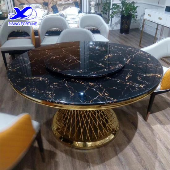 Round black marble dining table set