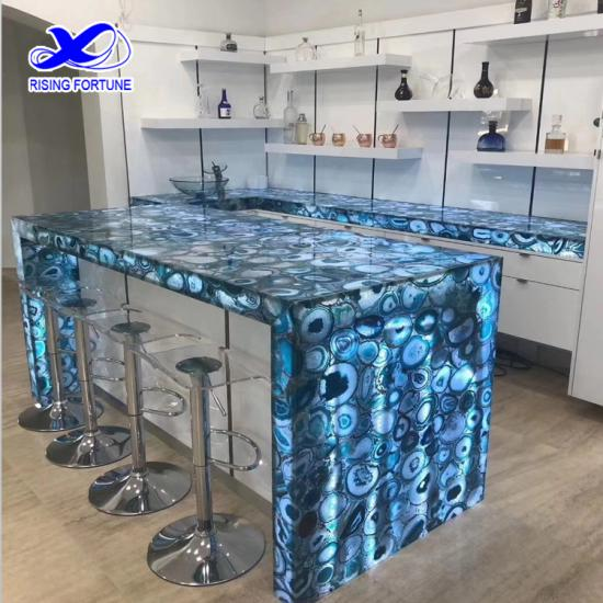 Blue agate semi precious kitchen bench top