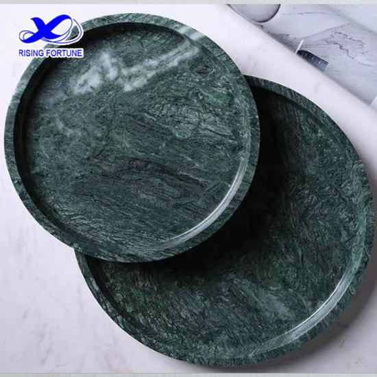 Round green marble serving tray