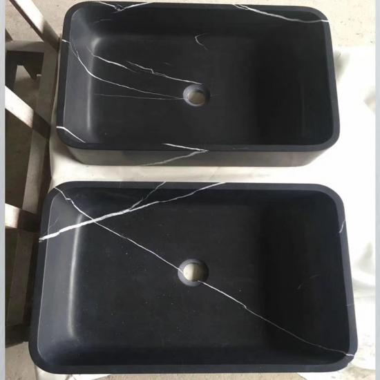 Honed black Marquina marble rectangular vessel sink