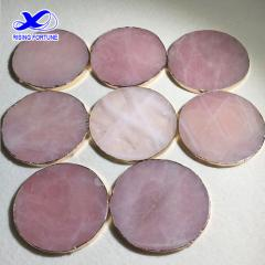 Round Rose quartz coasters