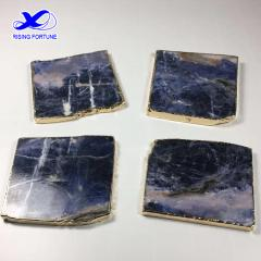 Unique blue stone square coasters with gold trim