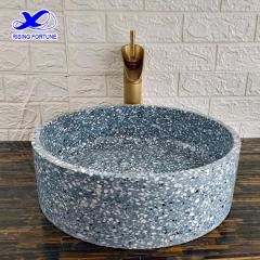Blue color terrazzo bathroom sink
