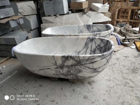 New york white marble stone bathtub