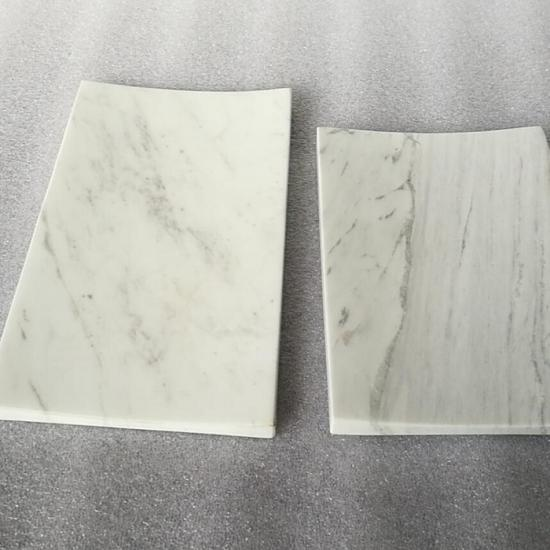 White marble guest towel tray