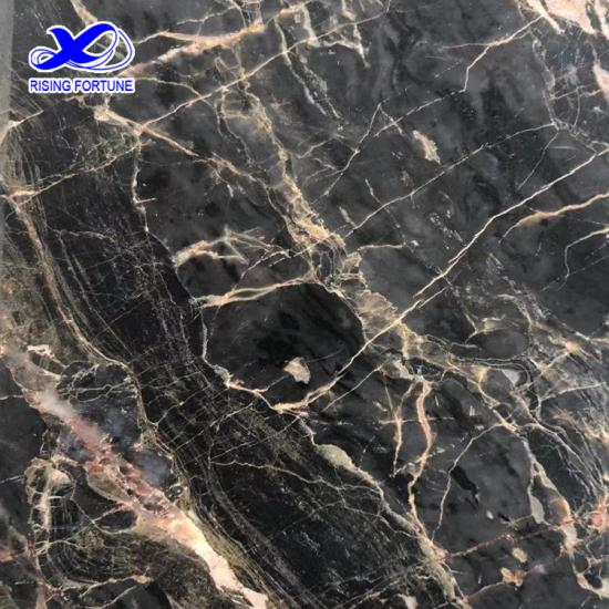 Black marble with gold veins
