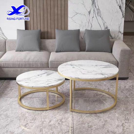 Faux marble top gold nesting coffee table