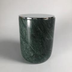 Green marble candle holder with metal lid